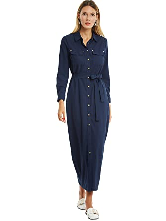 7730431d1 Kinikiss Women's Open Button Down Casual Loose Long Sleeve Maxi Shirt Dress  With Pocket at Amazon Women's Clothing store: