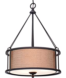 """Kira Home Maxwell 17.5"""" 3-Light Metal Drum Chandelier + Glass Diffuser, Oil-Rubbed Bronze Finish"""