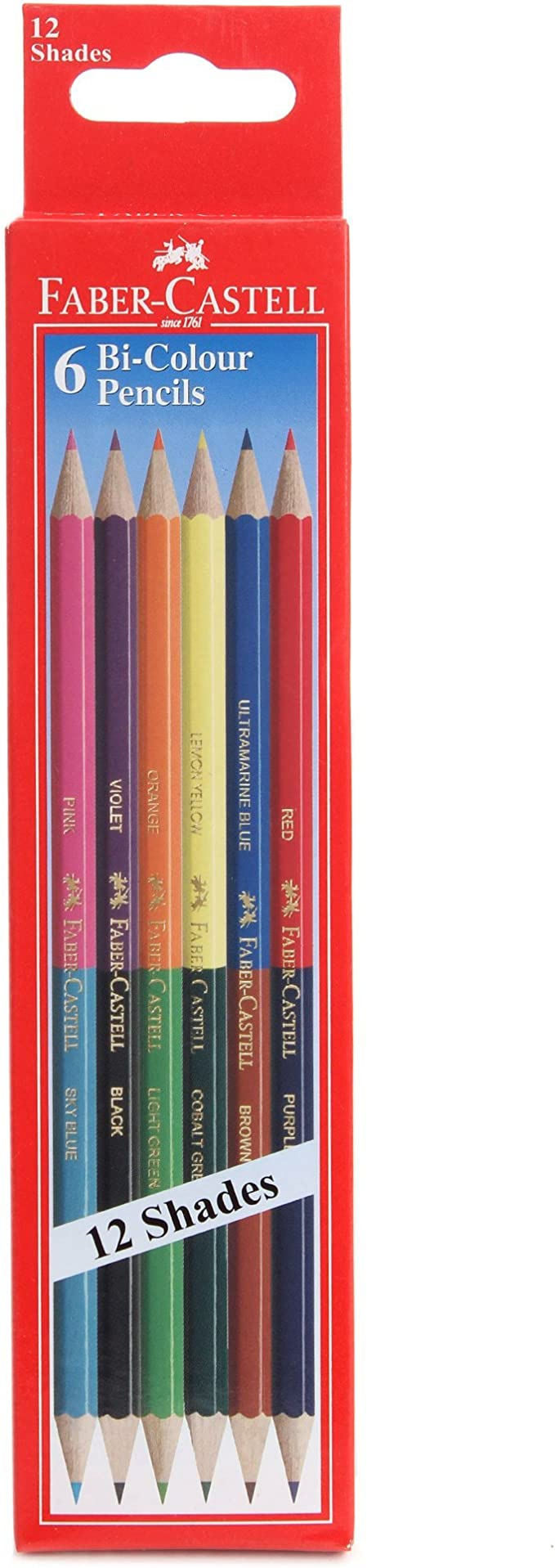 Set of 18 Faber castell Dual Sided Bi Colour Pencils in Hexagonal Shape