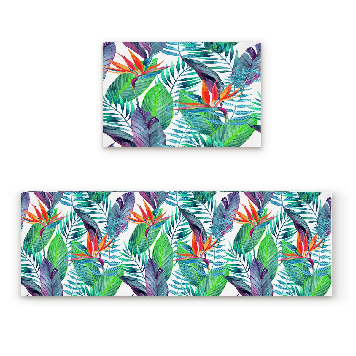 Tropical Forestsoa9193 23.6\ 2 Pieces Kitchen Rug Set,Non-Skid Slip Washable Doormat Floor Runner Bathroom Area Rug Carpet,Tropical Leaves Summer Watercolor Hand Drawn Style (23.6x35.4in+23.6x70.9 inches)