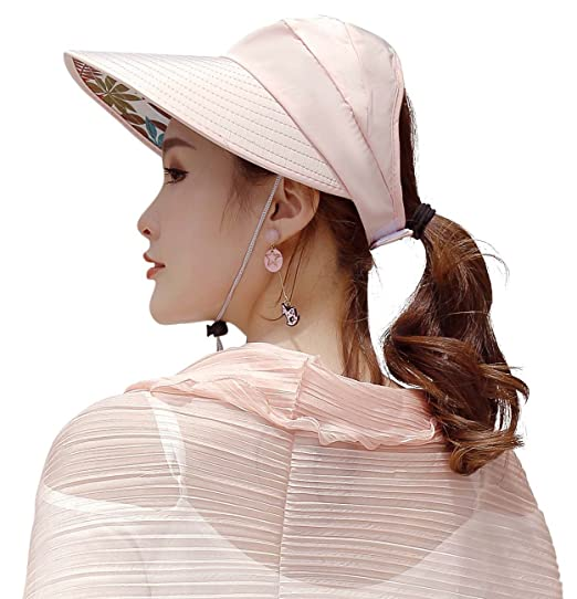 f2b782fce1d Image Unavailable. Image not available for. Color: HINDAWI Sun Hats Women  Cover Up Shawls Wide Brim UV Protection Visor Floppy Caps Womens Beach