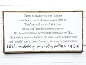 Flowershave357 Reckless Love of God Sign Christian Wood Sign Farmhouse Style Jesus Sign Large Wooden Sign Framed Wall Art