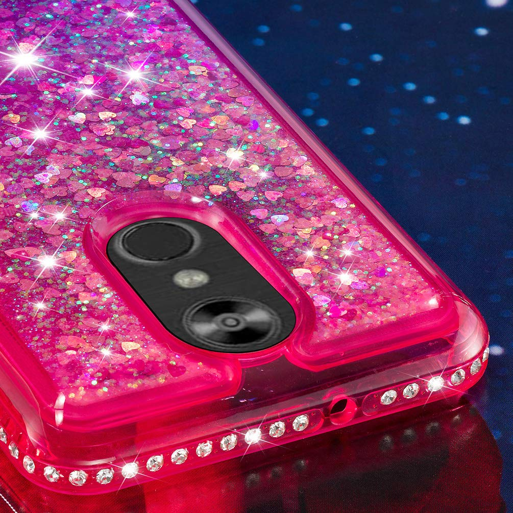 LG Stylo 4 Case, Clear Liquid Glitter Case Color-Gradient Bling Shiny Glitter Sparkle Flowing Moving Hearts Diamonds Frame Ultral Slim Shock Absorbtion TPU Bumper Shell Cover for LG Q Stylus - Pink by KASOS (Image #5)