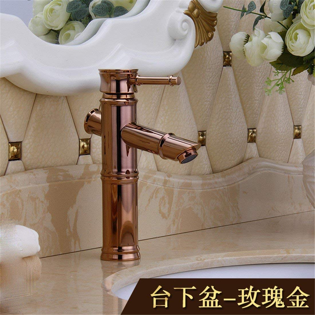 3 Oudan The golden Bamboo water saving taps full copper hot and cold single hole Washbasin washbasin continental check classic bamboo basin, Palm Antique Table Basin (color   2)
