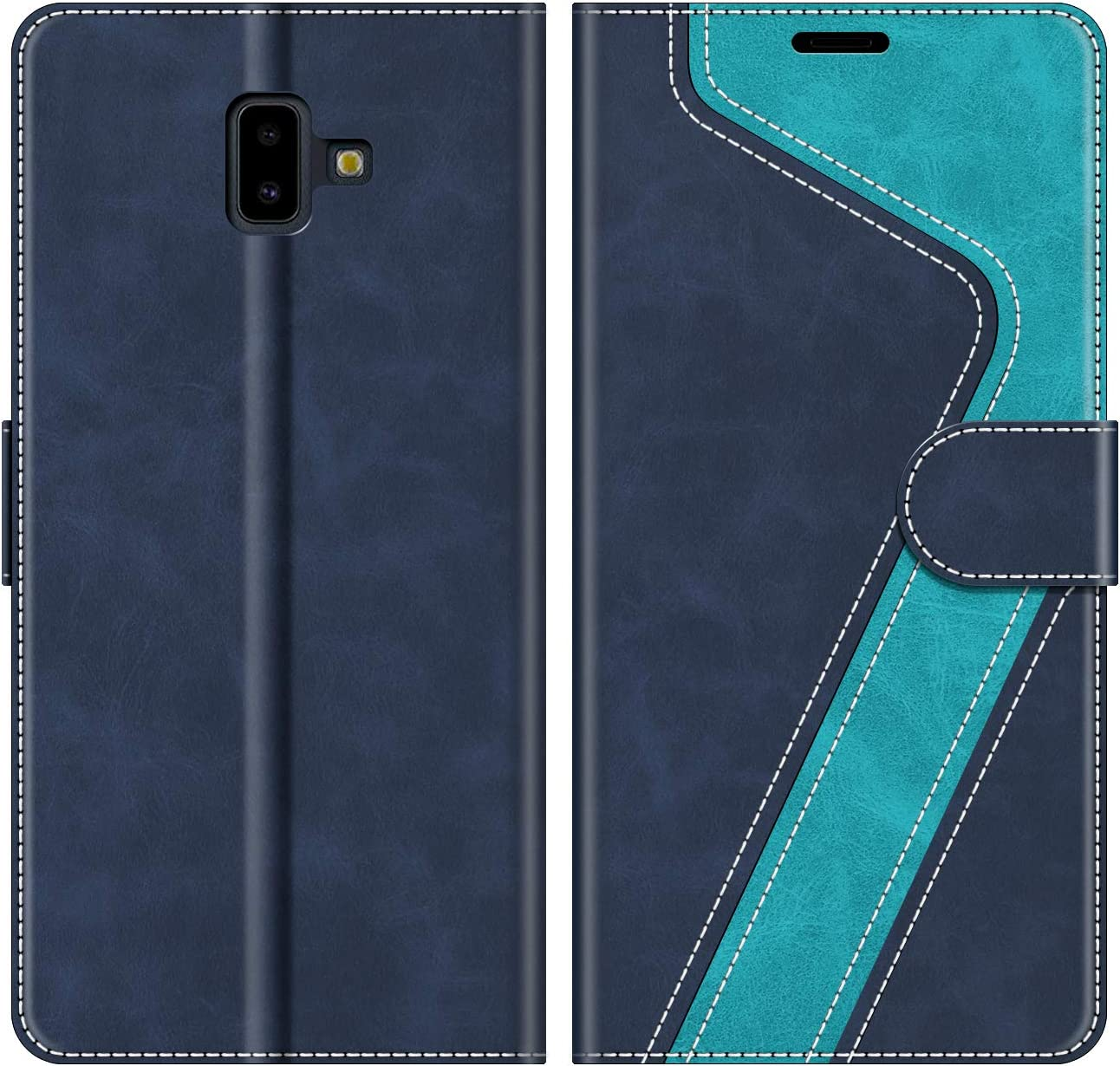 MOBESV Funda para Samsung Galaxy J6 Plus, Funda Libro Samsung J6 Plus, Funda Móvil Samsung Galaxy J6 Plus Magnético Carcasa para Samsung Galaxy J6 Plus 2018 Funda con Tapa, Azul