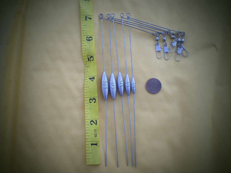 """WIRE .041X7/"""" LEG X3/"""" ARM 10 SMALL BOTTOM BOUNCER SINKER 1//2 OZ W//STAINLESS S"""