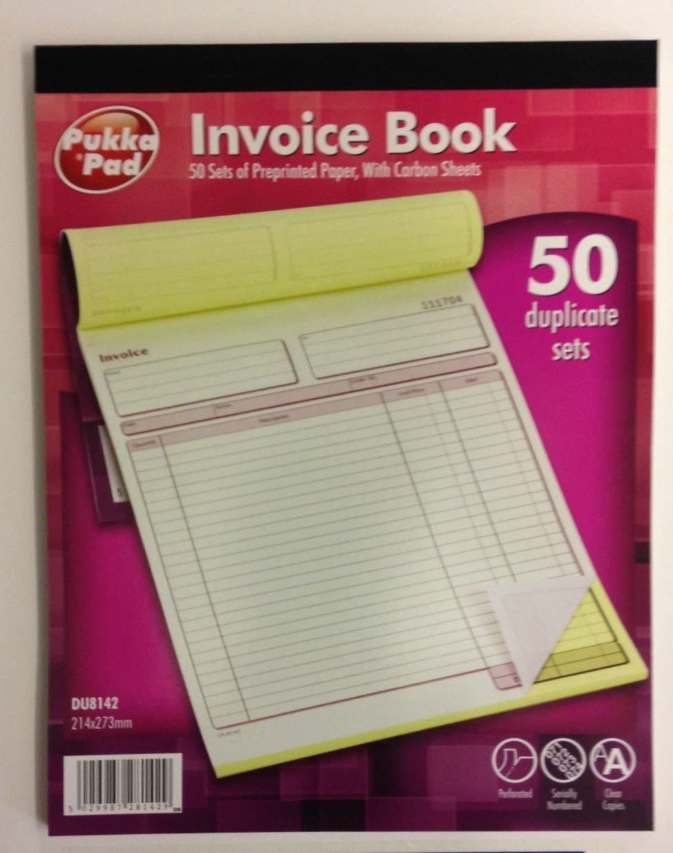 Duplicate Invoice Book NCR Carbonless Receipt Record Numbered Pad 50 Sets PUKKA