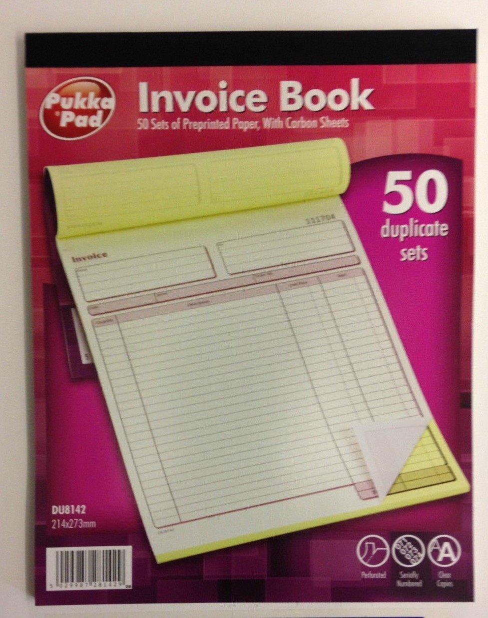 1x Pukka Pad A4 50 Set Duplicate Invoice Book With Carbon DU8142 Single Book 214x273mm