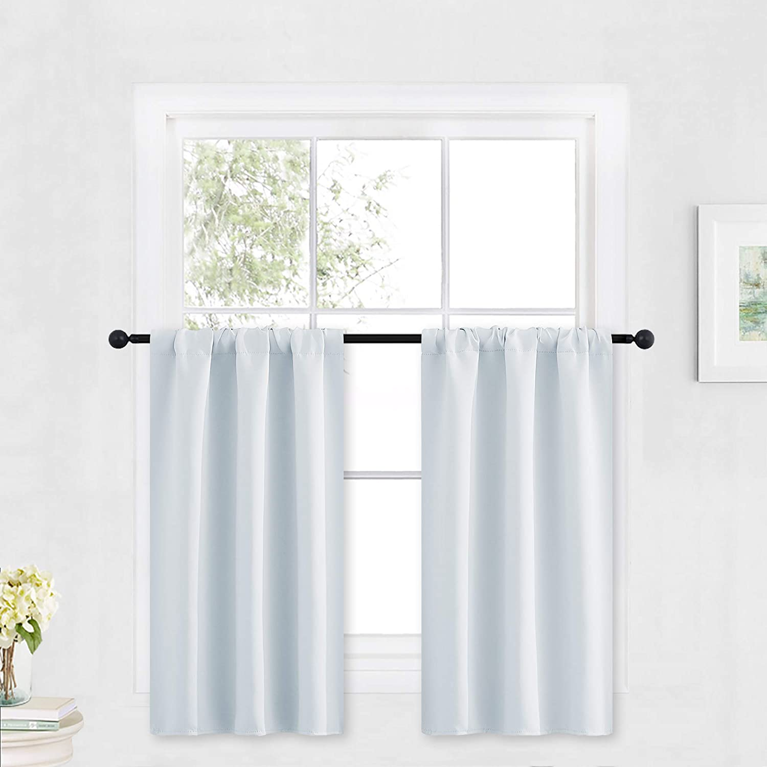 RYB HOME White Curtains for Bedroom - Room Darkening Curtains Thermal Insulated Sunlight Block for Kitchen Cabinet Basement Bathroom Window Covering, W 29 x L 36, Grayish White, 2 Panels