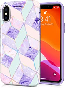 CAOUME iPhone X iPhone Xs Case Holographic Geometric Marble Design Purple Blue - Protective Cases for Apple Phone Camera and Screen - Compatible with iPhone X/XS(5.8 inch)