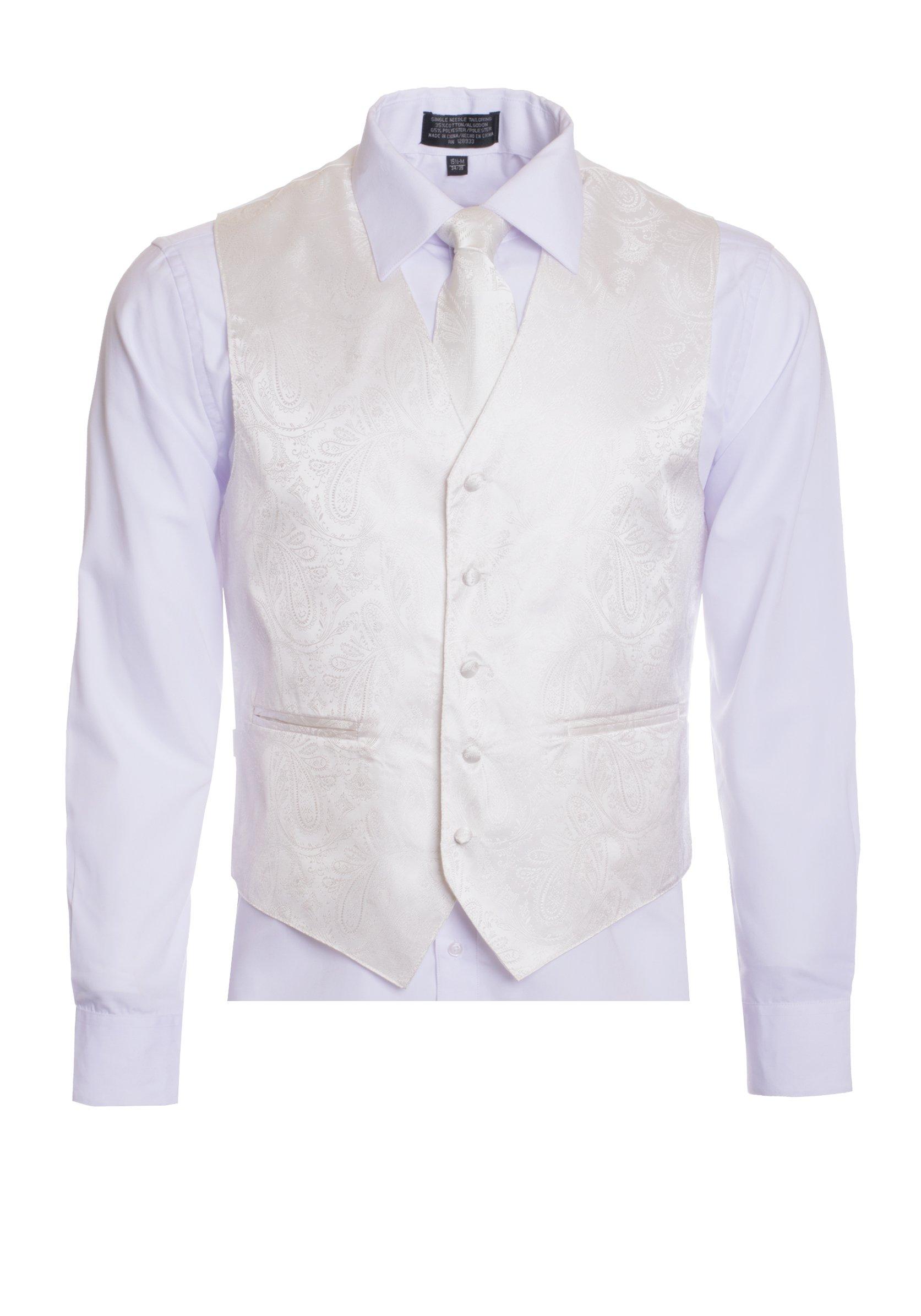 dc7b5256db089 Men's Premium Paisley Vest Neck Tie Pocket Square Set Paisley Vest for  Suits and Tuxedos-Many Colors (3XL, Ivory/Off White)