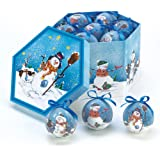 Blue Snowman Ornament Box Set