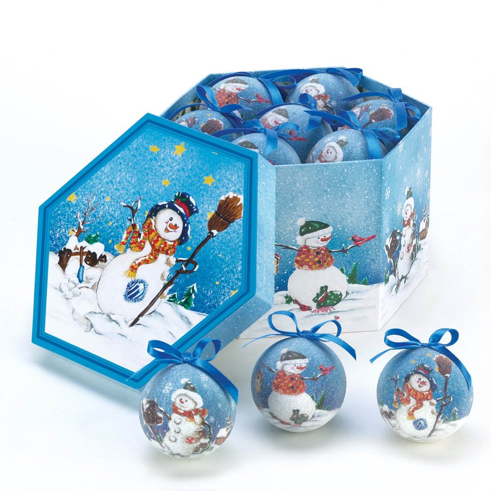 Amazoncom Blue Snowman Ornament Box Set Home  Kitchen