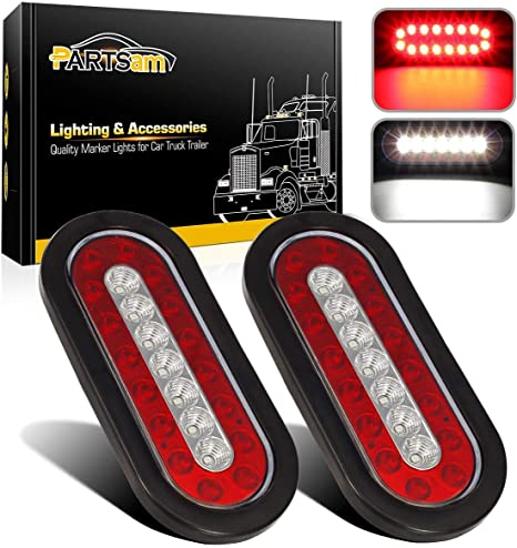 Partsam 2pcs 6 3 Inch Oval Truck Trailer Led Tail Stop Brake Lights Taillights Running Red And White Backup Reverse Lights Sealed 6 3 Inch Oval Led
