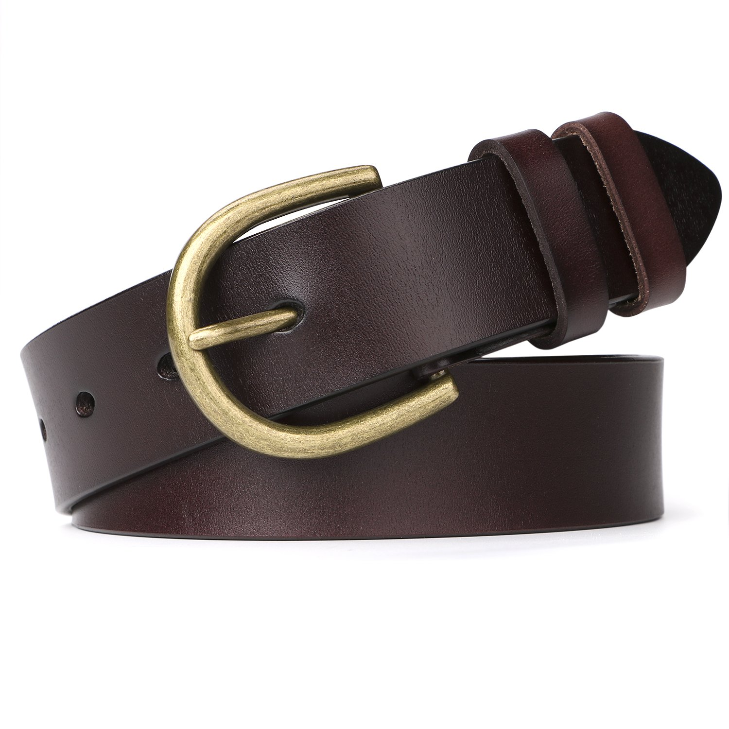 JASGOOD Genuine Leather Belt for Women Waist Belt with Brushed Alloy Buckle JA061