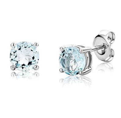 Miore Earrings Women studs Aquamarine with Brilliant Cut Diamonds White Gold 9 Kt/375 3wtDlZZ5I5