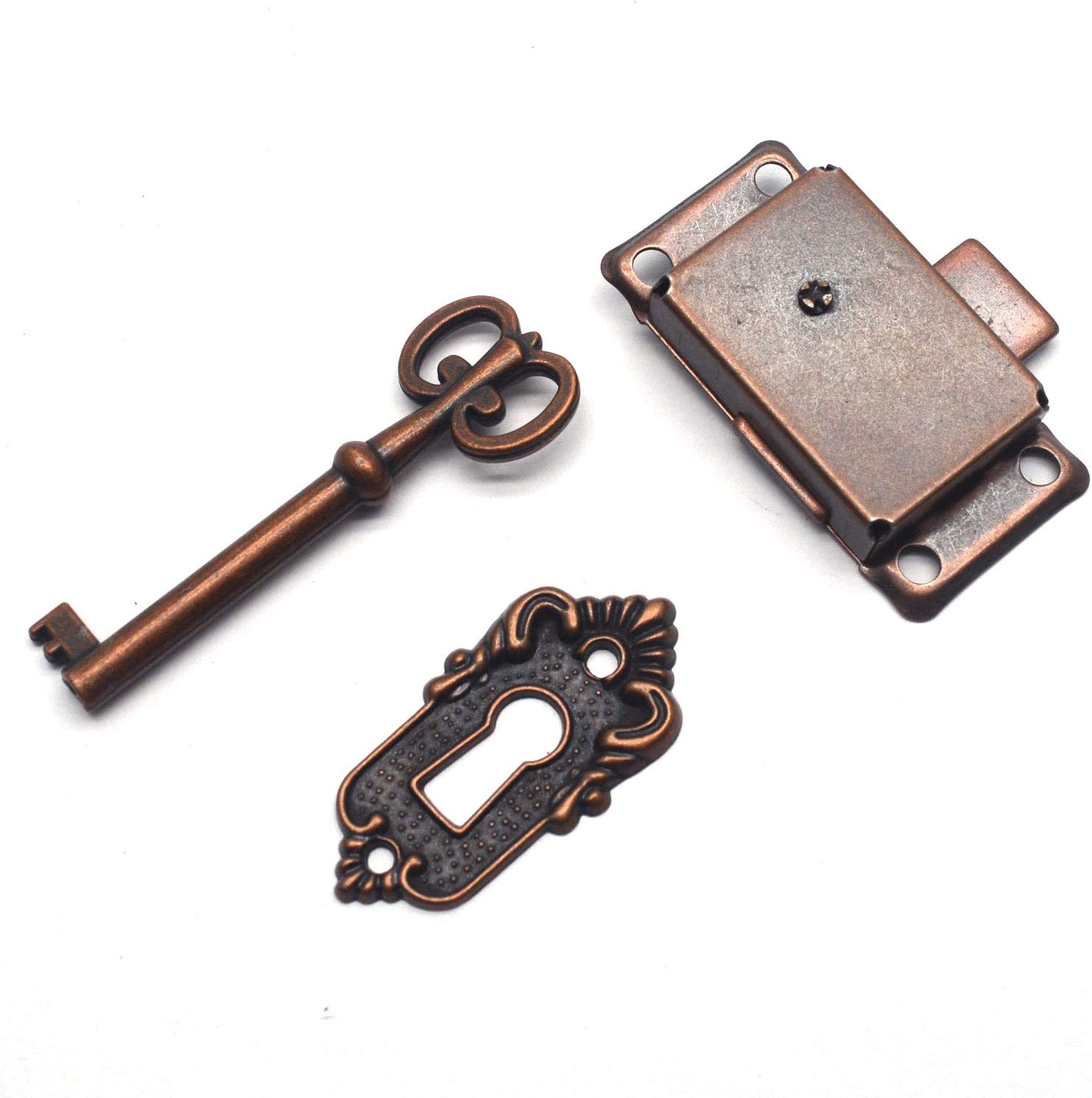 """Tulead Furniture Lock Vintage Lock for Jewelry Antique Red Bronze Cabinet Lock Old Lock Replacement Square-Type Locker Door Lock 2"""" Length with Mounting Screws"""