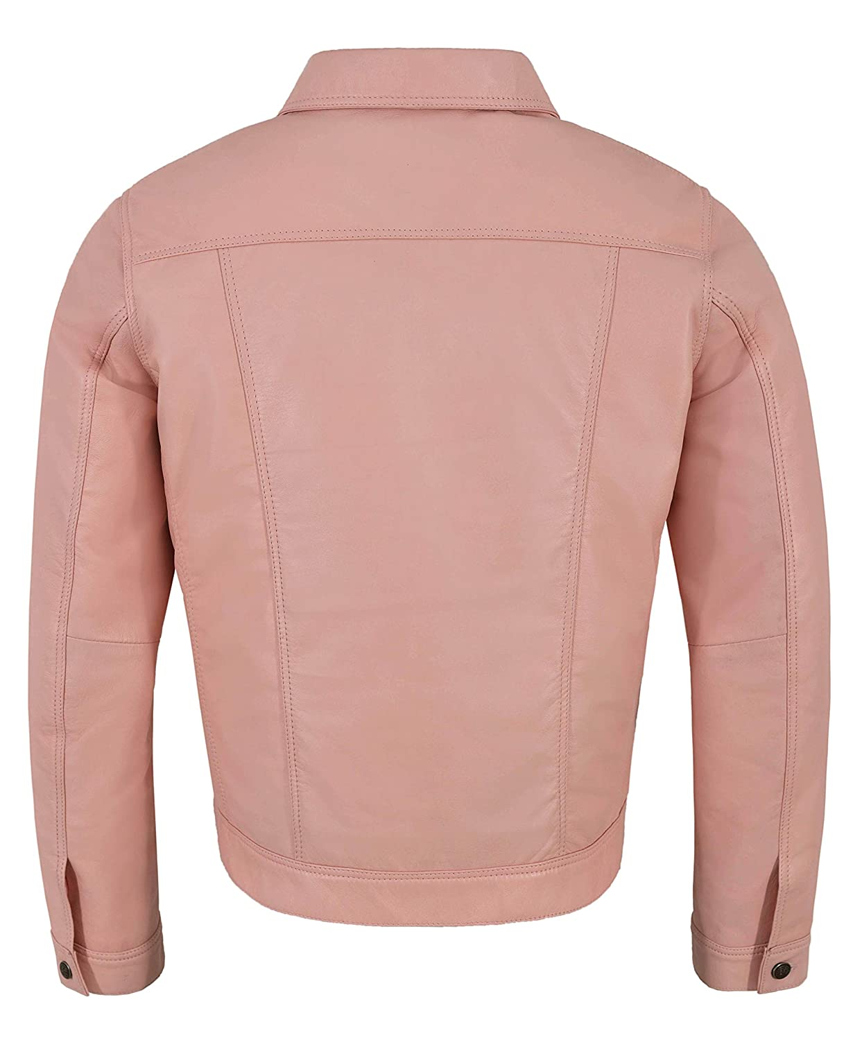 db9ce4b29148 Men s Real Leather Jacket Baby Pink Napa Classic Western Trucker ...