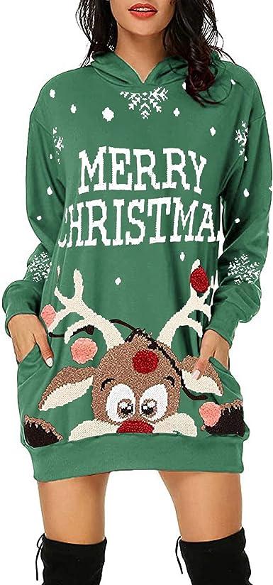 Merry Sweater Dress Christmas Cowl Neck Santa Tunic Kawaii Women