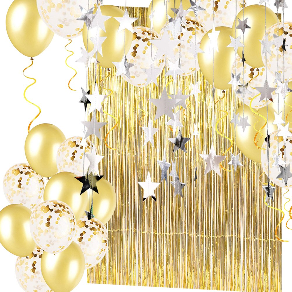 Gold Confetti Balloons(20 pack) and Metallic Tinsel Foil Fringe Curtains(2 pack) with Silver Star banner(2 pack) Party Supplies and Decoration Set for Bachelorette Birthday Party or Graduation Wedding by FREEFEET