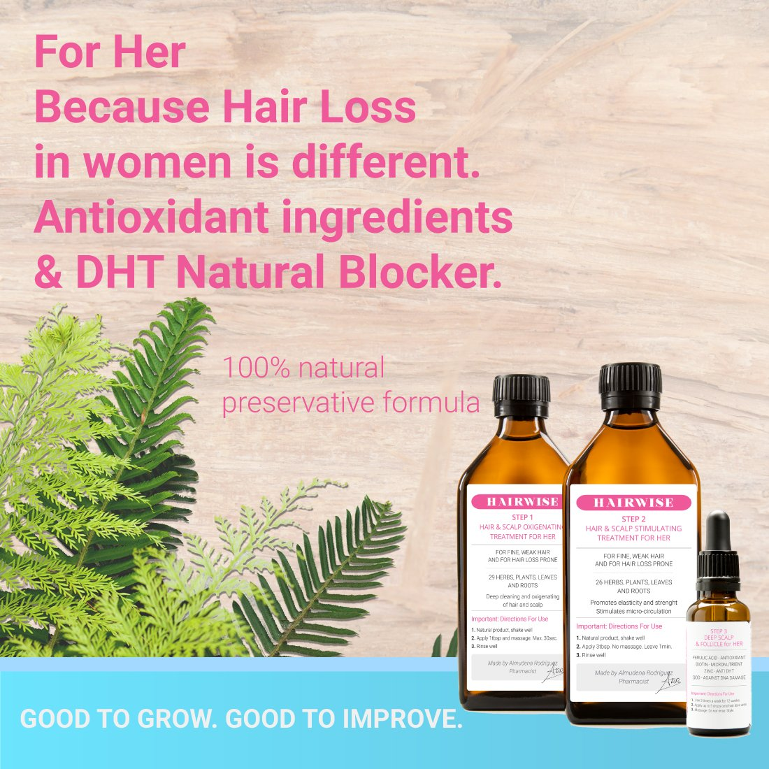 100% Medicinal Plants Based Hair Regrowth Treatment for Her - Step 1 Detox, Step 2 Hair And Scalp Stimulating, 3 Deep Scalp & Follicle Treatment   HairWise only Hand Made Products.