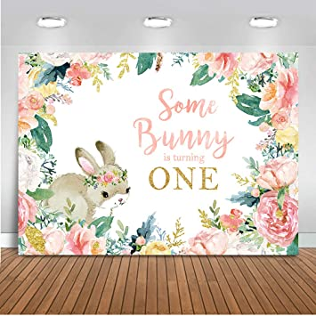 COMOPHOTO Some Bunny First Birthday Photography Background 7x5ft Some Bunny is Turning One Backdrop 1st Birthday Cake Table Decorations Props