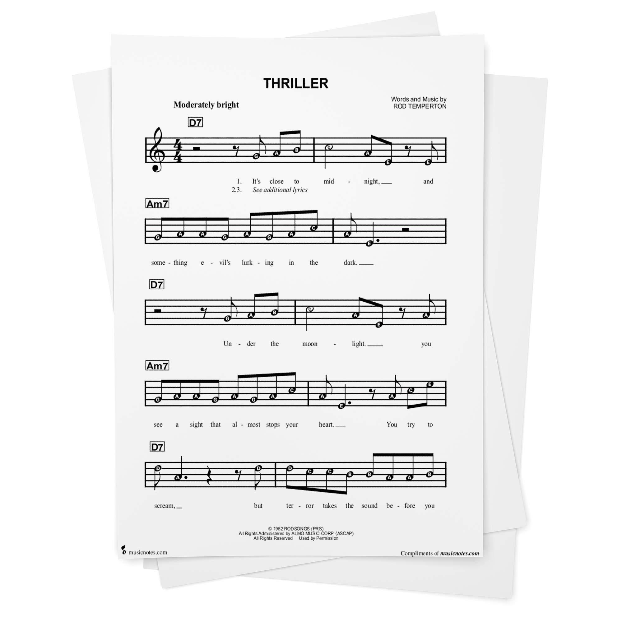 Thriller Sheet Music by Michael Jackson   Beginner Notes from ...