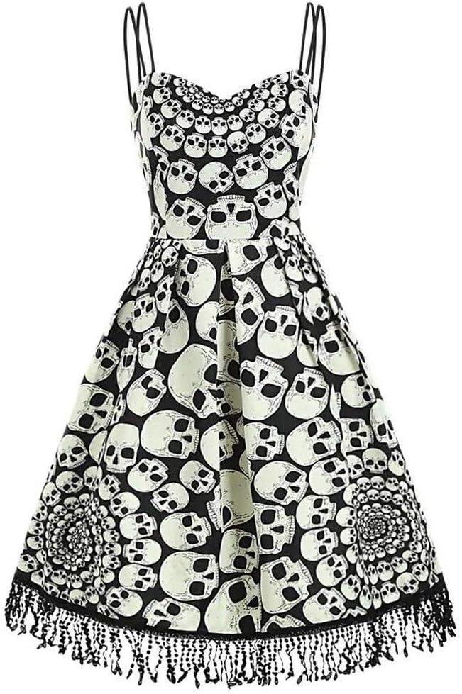 Women Cat Printed Dress Deep V Neck Sleeveless Evening Party Dress Swing Retro