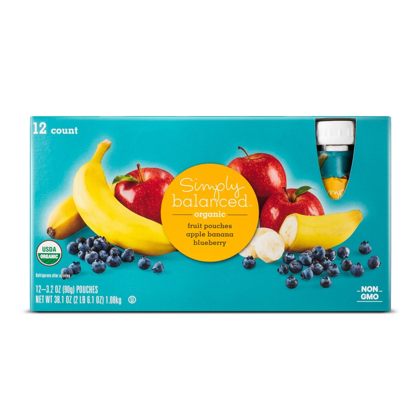 Apple Banana Blueberry Fruit Pouch 12ct - 3.2oz - Simply Balanced