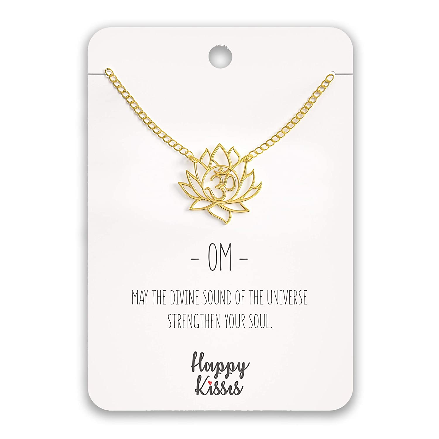 Happy Kisses Yoga Lotus Flower Necklace with OM Symbol – Cute Lotus Pendant Charm – with Empowering Message Card -Silver Plated