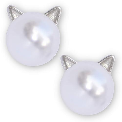 YouOne Pendientes mujer joyeria plata de ley 925 Perlas Gato ...