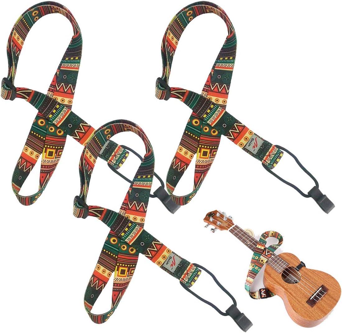 Liwein Correa Ukelele,3 Piezas Nylon Cuello Ajustable Correa con Gancho para Guitarra Eléctrico Bajo Acústico Retro Étnico Estilo Bohemio