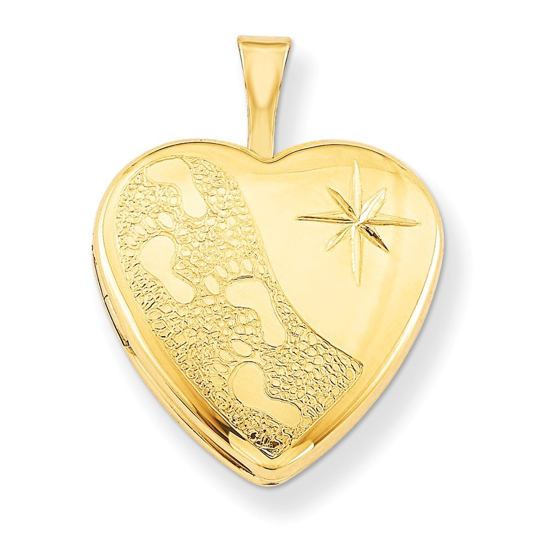ICE CARATS 1/20 Gold Filled 16mm Footprints Heart Photo Pendant Charm Locket Chain Necklace That Holds Pictures W/chain Fashion Jewelry Ideal Gifts For Women Gift Set From Heart IceCarats 4691793794753333343