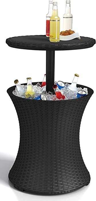 Keter Outdoor Patio Table with 7.5 Gallon Beer Cooler, Grey
