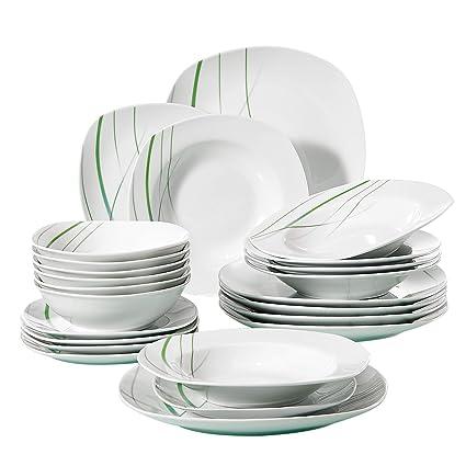 Amazon VEWEET 40Piece Porcelain Dinnerware Set Ivory White Enchanting Patterned Dinnerware Sets