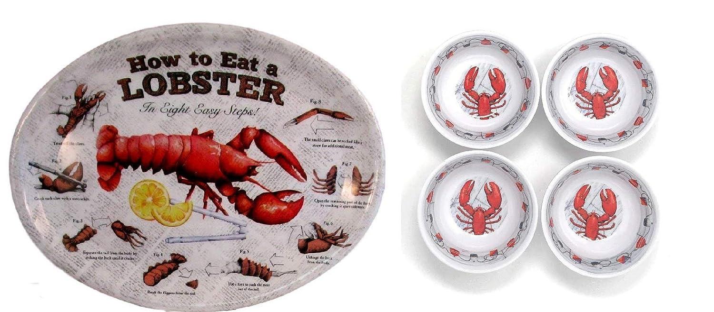 How To Eat A Hummer Oval Teller und Butter Dip-Schalen-Set von 4 neue Gerichte