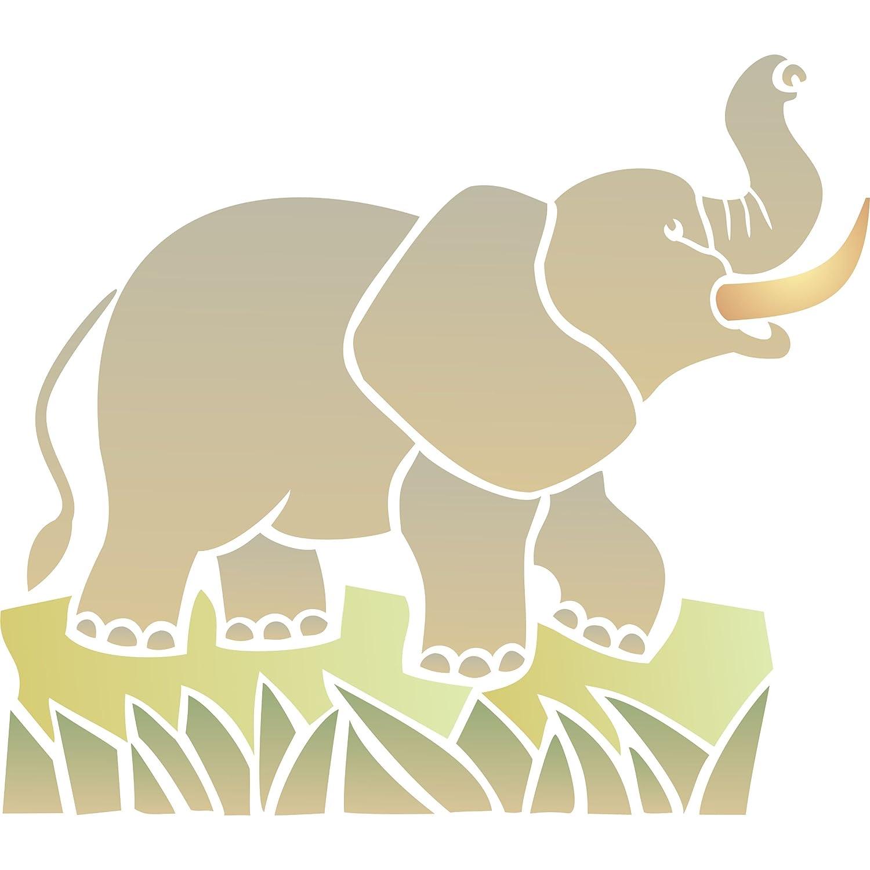 Diseño de elefante africano - (tamaño 20,5 x 18 cm) reutilizable de ...