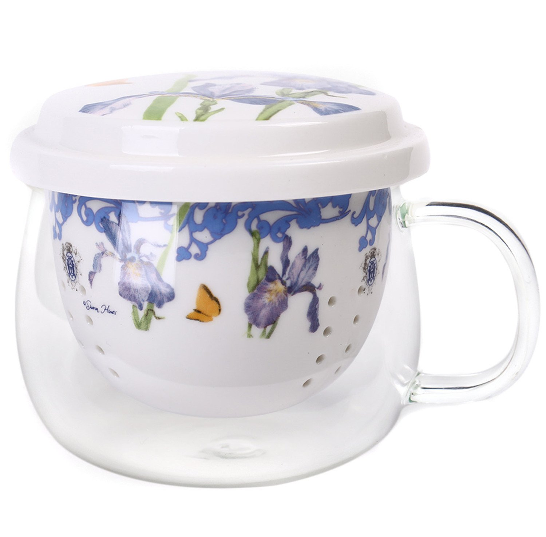 Rose Red CQ3GIT5716 CEDAR HOME Porcelain Tea Cup Set Ceramic Travel Mug Brewing System with Infuser and Lid 10oz