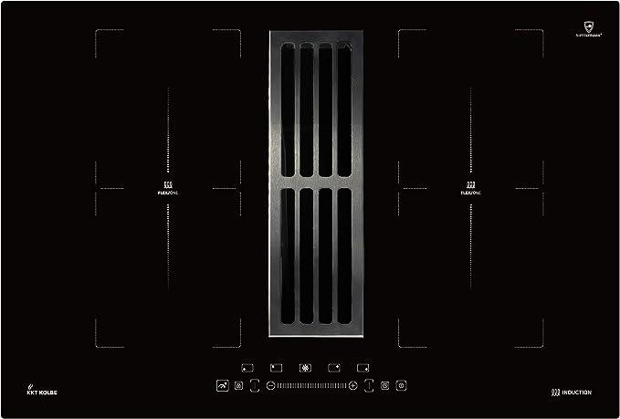 Plaque de cuisson à induction avec hotte aspirante de table (77 cm, autonome, 7 kW, 9 niveaux, 4 zones, 2 zones flexibles, touches à détecteur TouchSelect, booster, écran LED) IND7704DRAFT - KKT KOLBE