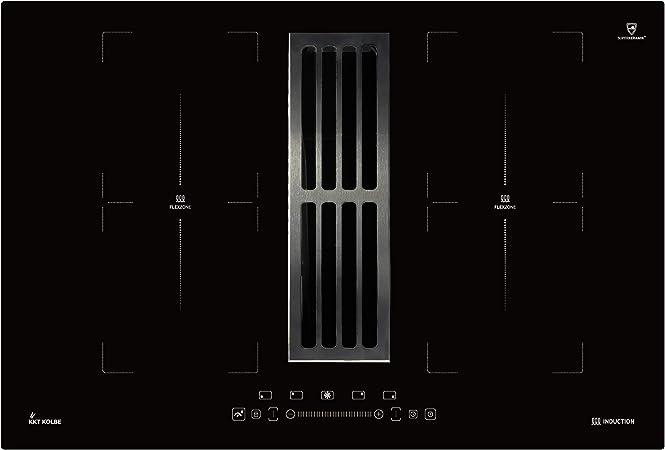 Placa de inducción con campana extractora de sobremesa (77cm, autosuficiente, 7kW, 9 niveles, 4 zonas, 2 zonas flexibles, teclas de sensor TouchSelect, booster, pantalla LED) IND7704DRAFT - KKT KOLBE: Amazon.es: Hogar