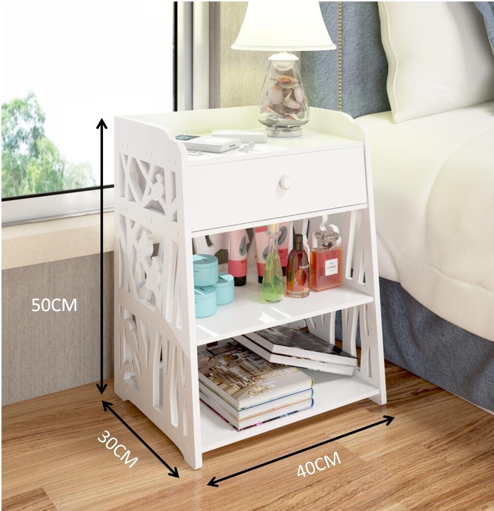 Mybestfurn Cute Carving Nightstand Bed Side Table Multi-Functional Side Cabinet Children Washable Drawer Cabinet Furniture White MB272N