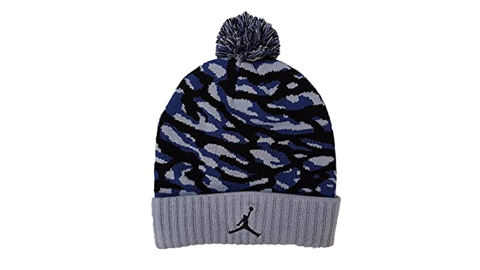 8bbf3548 Image Unavailable. Image not available for. Colour: Nike Jordan's Men's Pom  Camo Blue Beanie Hat OS