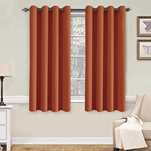 H.VERSAILTEX Thermal Insulated Blackout Shades Formaldehyde-Free Kids Room Curtains,Grommet Top,52 by 63 - Inch - Burnt Orange - Set of 2 Panels