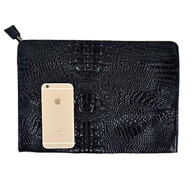 93f5dd7270 Felice Fashionista Crocodile Pattern Oversize Leather Envelope Clutch  Ladies Portfolio Evening Handbag (black)