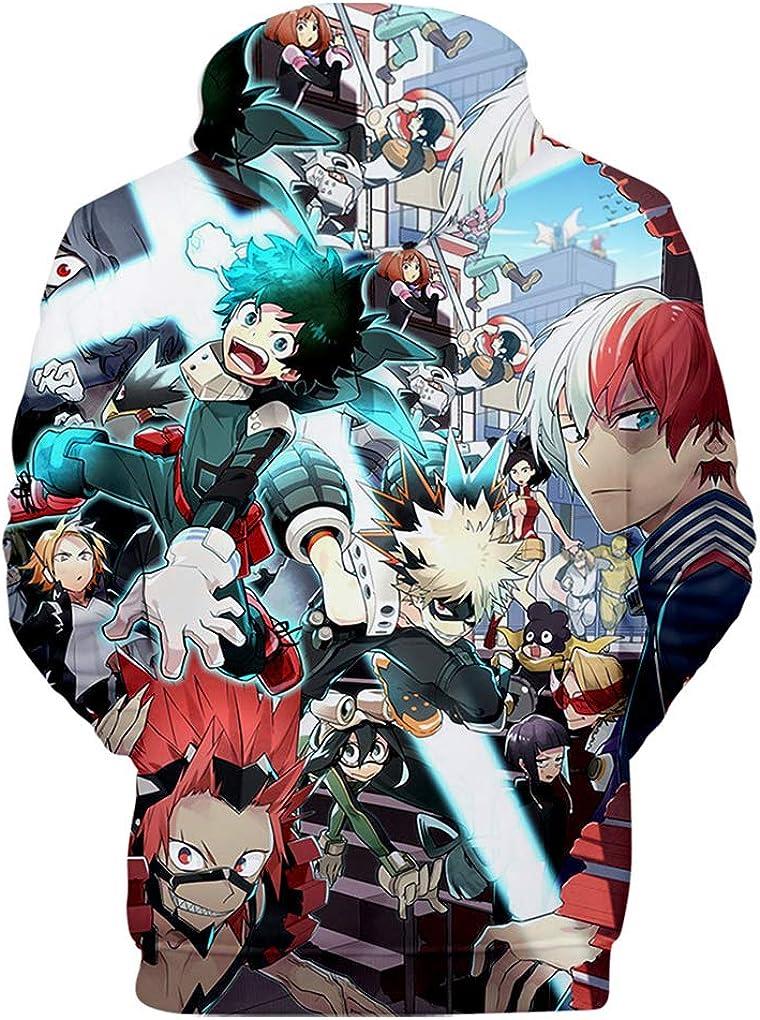 Memoryee Anime Boku No Hero Academia Felpa con Cappuccio 3D Stampa Allaperto Unisex Pullover Felpa con Maniche Lunghe Top Taglia Grossa Taglia Pocket Regali