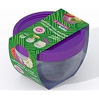 Conjunto com 3 Potes Plástico com Tampa Hermética, 400ml/165ml/70ml, Roxo ou Vermelho/Amarelo/Verde, Sanremo
