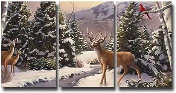 Deer with Blue Bird Framed Wall Art Print 12x16 Inch