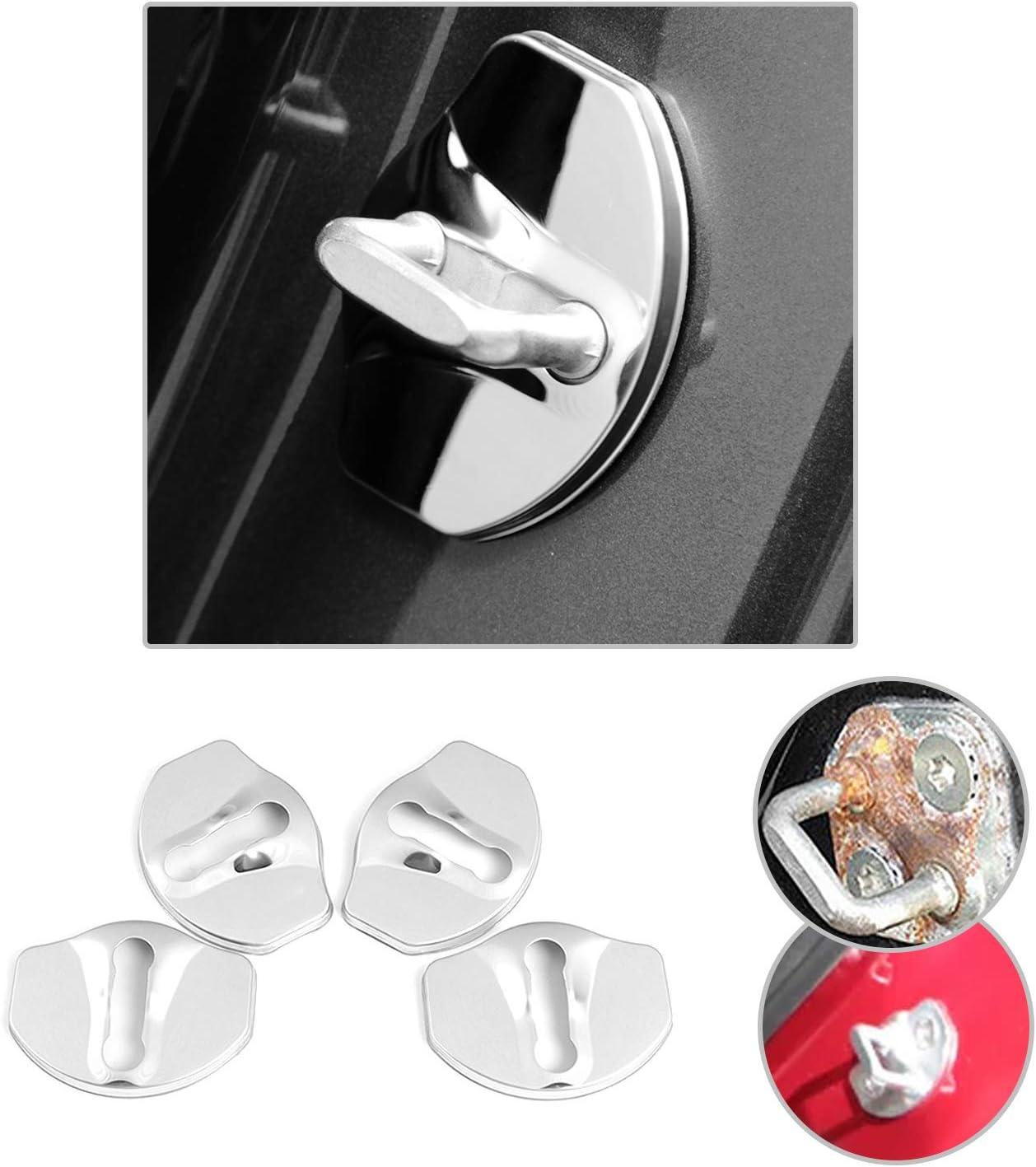 4 PCS Car Door Lock Cover for Tesla Model 3, Stainless/Steel Door Lock Striker Buckle Cap Protection/ CDEFG Black