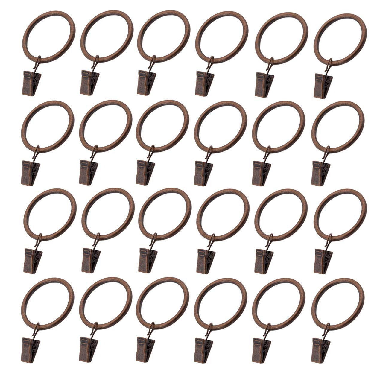 Ginbel Direct 20-Pack Copper Metal Heavy Duty Drapery Rustproof Curtain Rings with Clips Stainless Steel for Windows Bathroom Home Kitchen (Copper, 1.5 inch Interior Diameter)