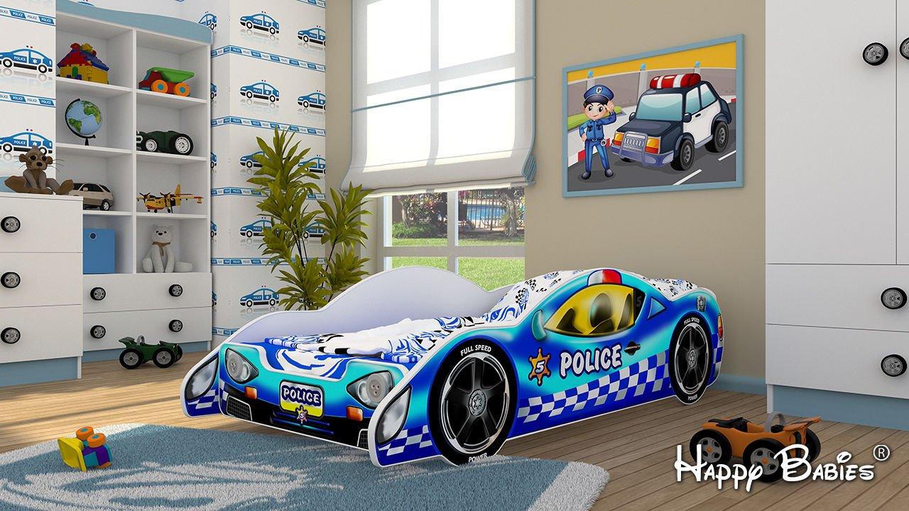 POLICE Auto Kinderbett Autobett mit Matratze NEU mit LED Beleuchtung 80x160